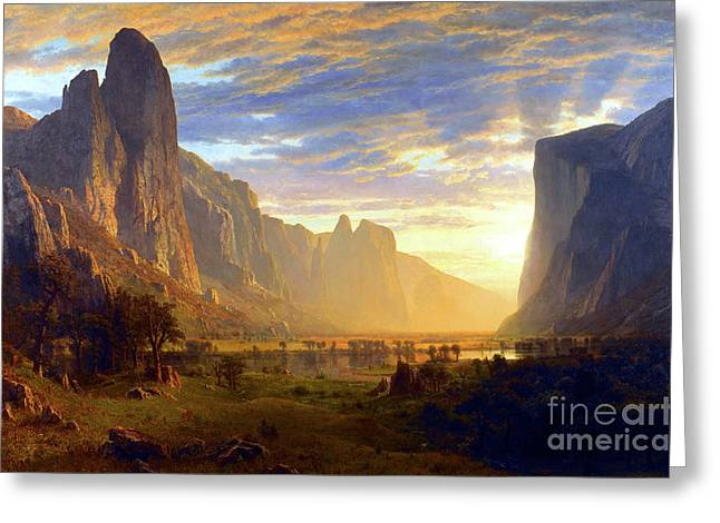 National Paintings Greeting Cards - Yosemite Valley Greeting Card by Albert Bierstadt