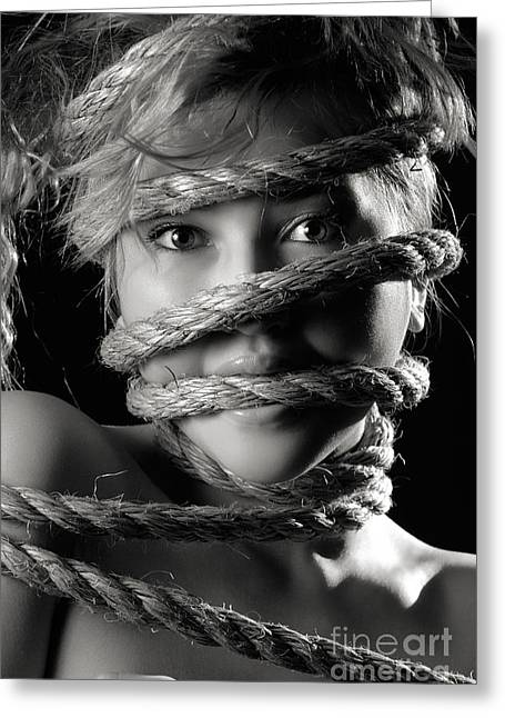 Angry Face Greeting Cards - Young Expressive Woman Tied in Ropes Greeting Card by Oleksiy Maksymenko