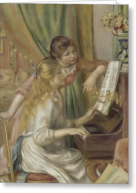 Renoir Greeting Cards - Young Girls at the Piano Greeting Card by Auguste Renoir