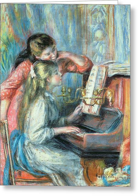 Sitting In A Chair Greeting Cards - Young Girls at the Piano Greeting Card by Pierre Auguste Renoir