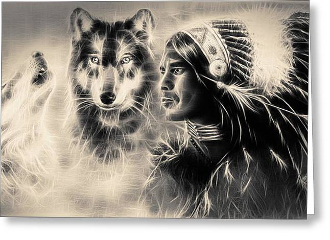 Native American Spirit Portrait Greeting Cards - Young Indian Warrior Accompanied With Two Wolves Greeting Card by Jozef Klopacka