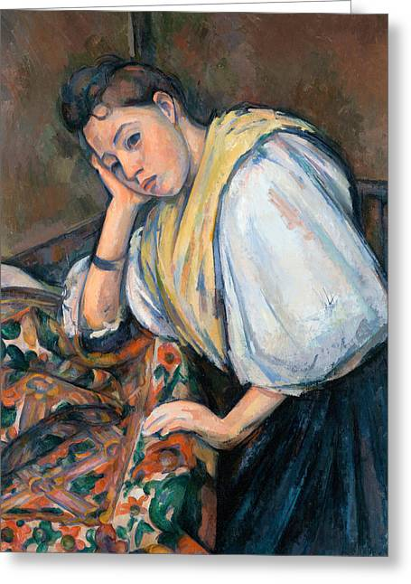 Table Greeting Cards - Young Italian Woman at a Table Greeting Card by Paul Cezanne