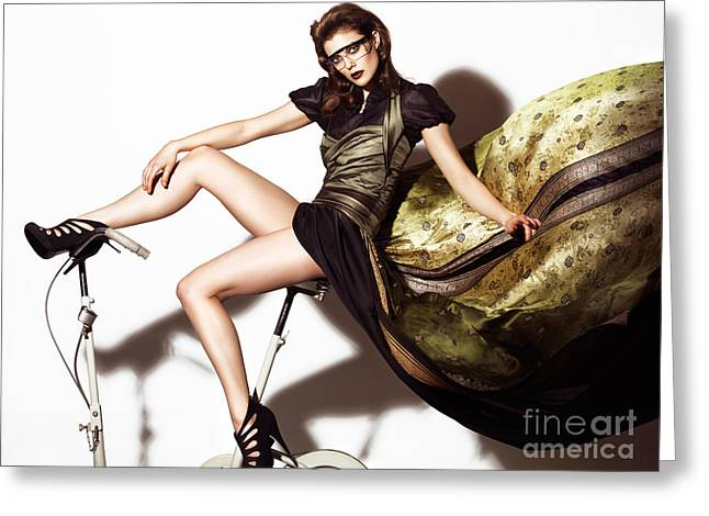 Full Body Greeting Cards - Young Woman in Long Dress on Exercise Bike Greeting Card by Oleksiy Maksymenko