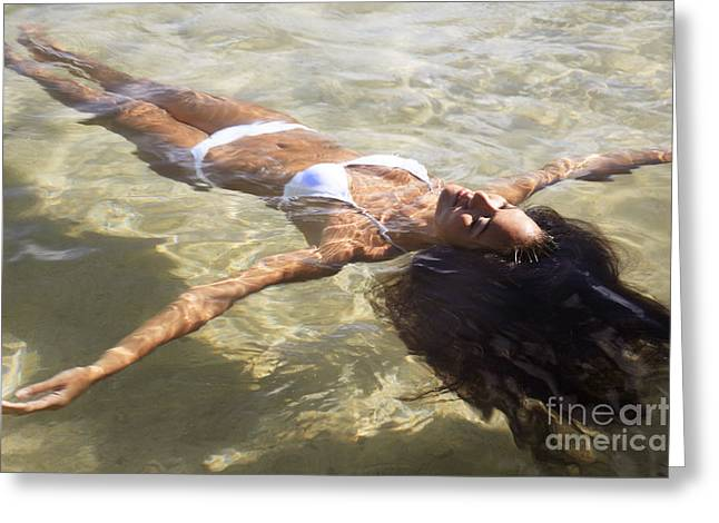 Young woman in the water Greeting Card by Brandon Tabiolo - Printscapes