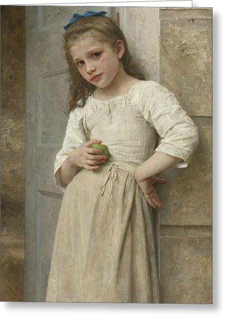 Yvonne On The Doorstep Greeting Card by William-Adolphe Bouguereau