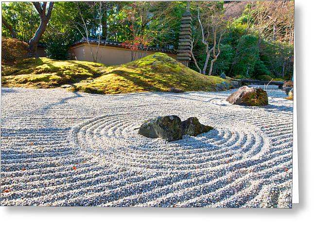 Life Line Photographs Greeting Cards - Zen garden at a sunny morning Greeting Card by Ulrich Schade