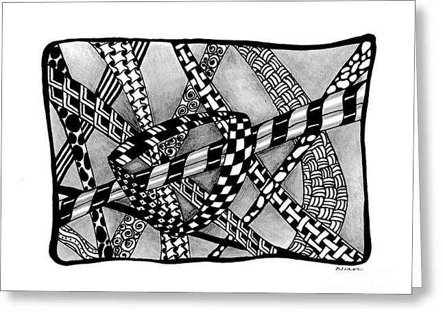 Pen And Ink Drawing Greeting Cards - Intertwined Line Design Greeting Card by Nan Wright