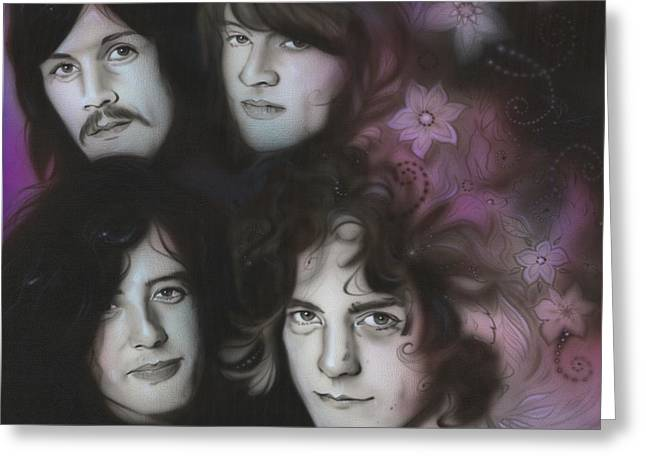Jimmy Page Paintings Greeting Cards - Zeppelin Greeting Card by Christian Chapman Art
