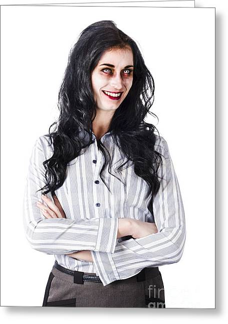 Gray Hair Greeting Cards - Zombie businesswoman Greeting Card by Ryan Jorgensen