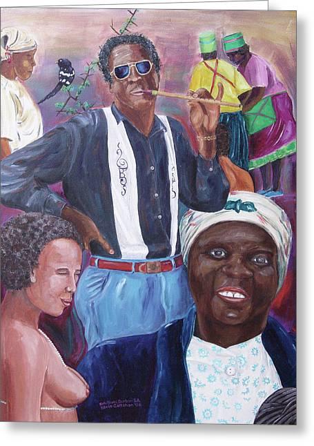Zimbabwe Paintings Greeting Cards - Zulu Blues Greeting Card by Kevin Callahan