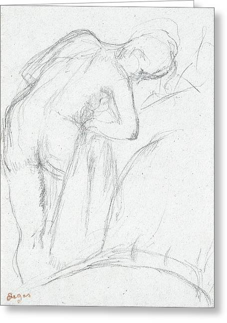 Skin Greeting Cards - After the Bath Greeting Card by Edgar Degas