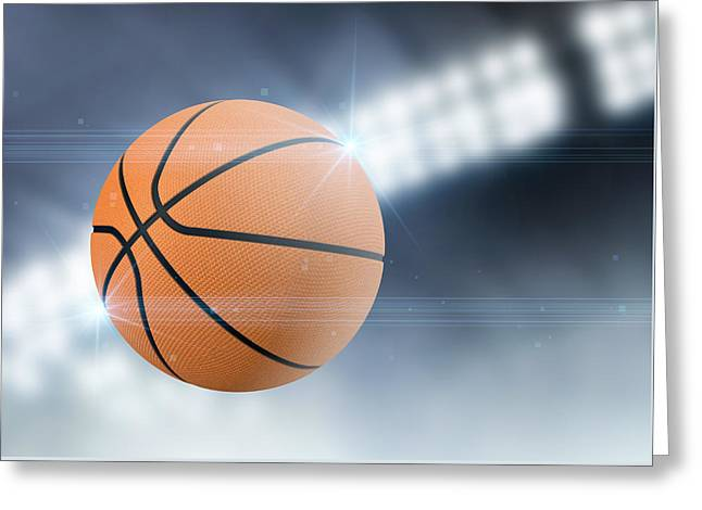 Basketballs Greeting Cards - Ball Flying Through The Air Greeting Card by Allan Swart