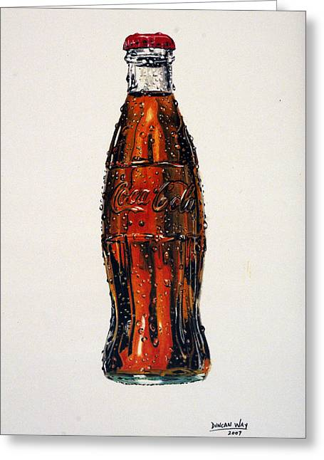 Bottle Cap Drawings Greeting Cards - 10 Cent Coke Greeting Card by Duncan  Way