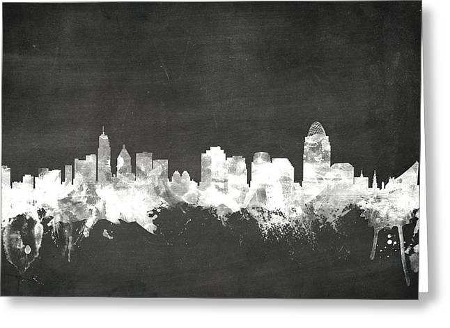 Chalks Greeting Cards - Cincinnati Ohio Skyline Greeting Card by Michael Tompsett
