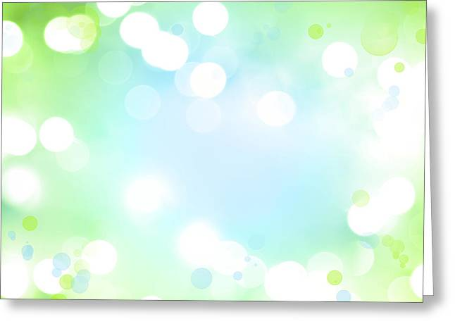 Fresh Green Greeting Cards - Circles background Greeting Card by Les Cunliffe