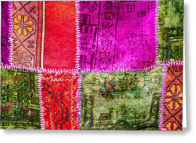Patch Greeting Cards - Colorful textile Greeting Card by Tom Gowanlock