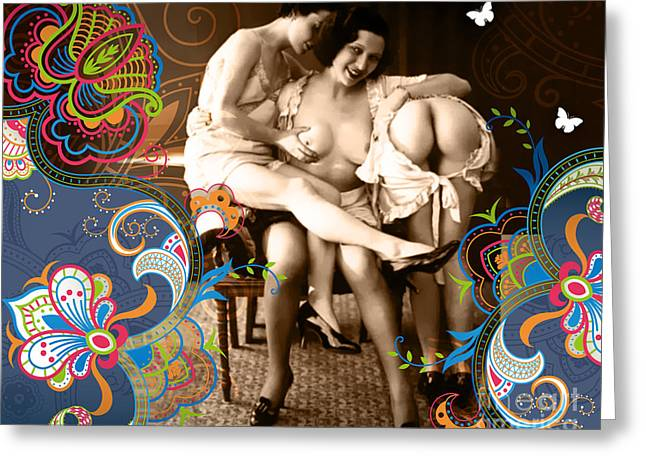 Nostalgic Mixed Media Greeting Cards - Goddesses Greeting Card by Chris Andruskiewicz