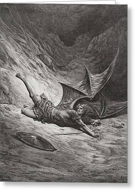 Archangel Greeting Cards - Illustration By Gustave Dore 1832-1883 Greeting Card by Ken Welsh