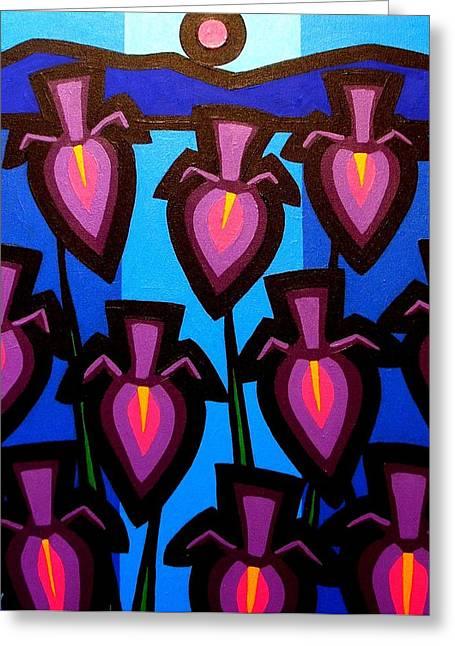Warhol Paintings Greeting Cards - 10 Irises Greeting Card by John  Nolan