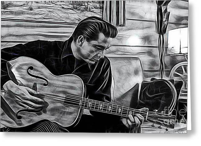 Country Music Greeting Cards - Johnny Cash Collection Greeting Card by Marvin Blaine