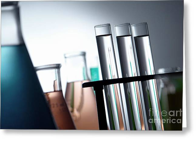 Rack Greeting Cards - Laboratory Test Tubes in Science Research Lab Greeting Card by Olivier Le Queinec
