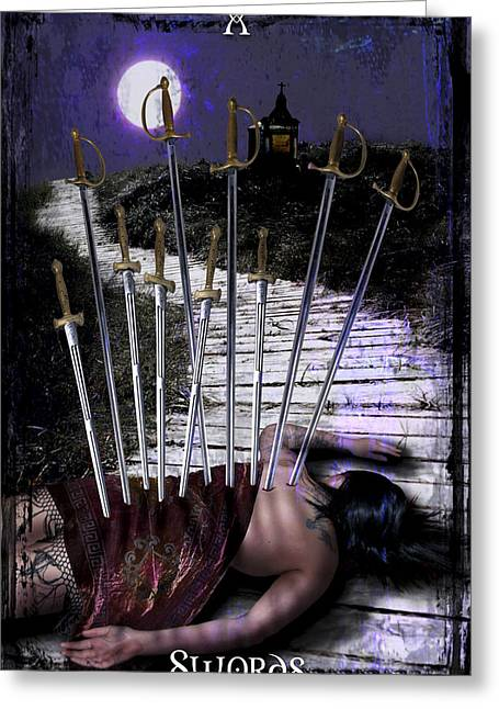 Divine Feminine Greeting Cards - 10 of Swords Greeting Card by Tammy Wetzel