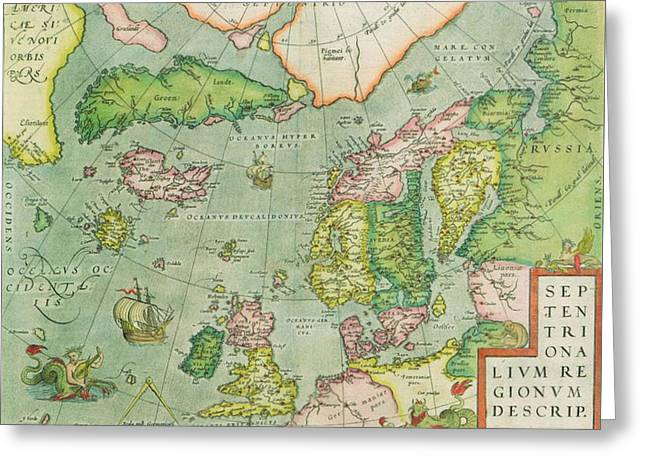 Old Map Greeting Card by FL collection