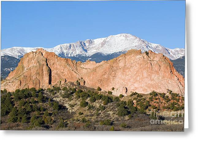 Recently Sold -  - Snow Capped Greeting Cards - Pikes Peak Greeting Card by Steve Krull