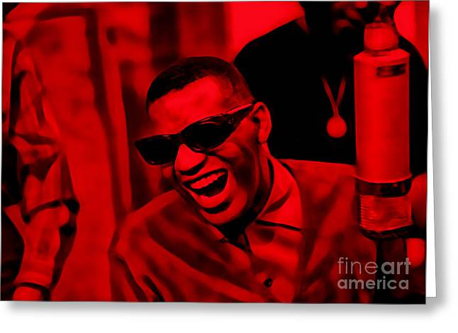 Retro Greeting Cards - Ray Charles Collection Greeting Card by Marvin Blaine