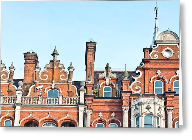 Red Brick Building  Greeting Card by Tom Gowanlock