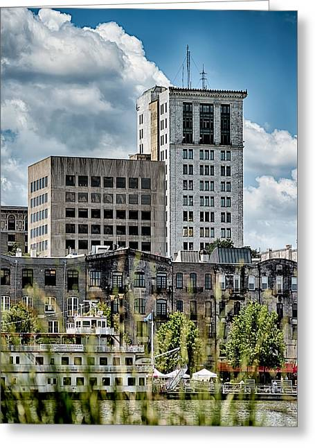 Chatham Greeting Cards - Savannah Georgia USA downtown skyline Greeting Card by Alexandr Grichenko