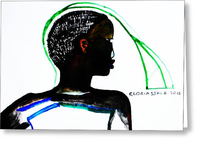 People Paintings Greeting Cards - Shilluk Bride South Sudan Greeting Card by Gloria Ssali
