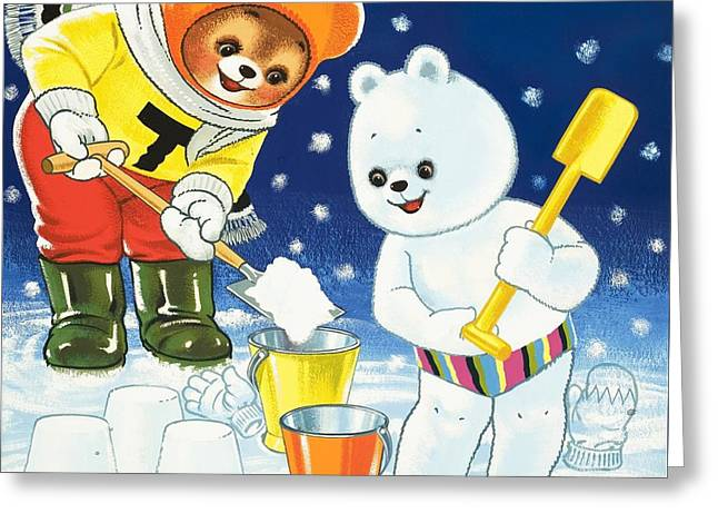 Winter Drawings Greeting Cards - Teddy Bear Christmas Card Greeting Card by William Francis Phillipps