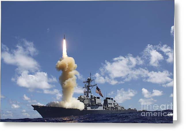 The Guided-missile Destroyer Uss Greeting Card by Stocktrek Images