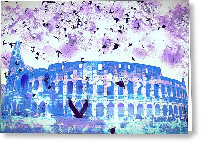 Creepy Digital Greeting Cards - The Roman Colosseum From Afar Greeting Card by Marina McLain
