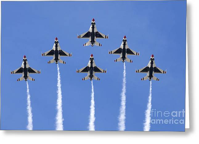 Fighters Greeting Cards - US Air Force Thunderbirds flying preforming precision aerial maneuvers Greeting Card by Anthony Totah