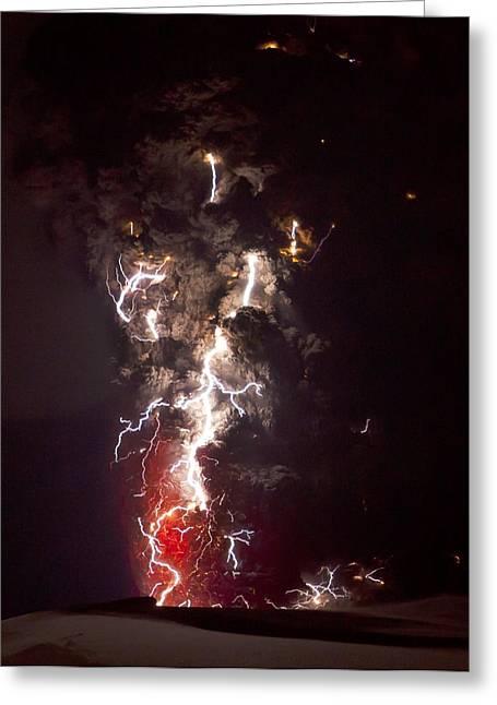 Time Exposure Greeting Cards - Volcanic Lightning, Iceland, April 2010 Greeting Card by Olivier Vandeginste