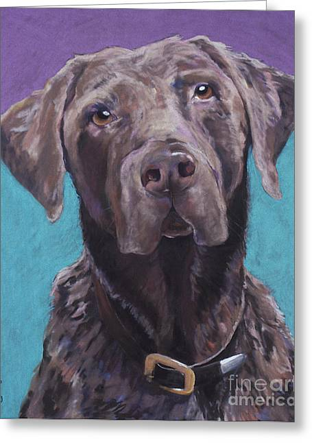 Pet Portraits Pastels Greeting Cards - 100 lbs. of Chocolate Love Greeting Card by Pat Saunders-White