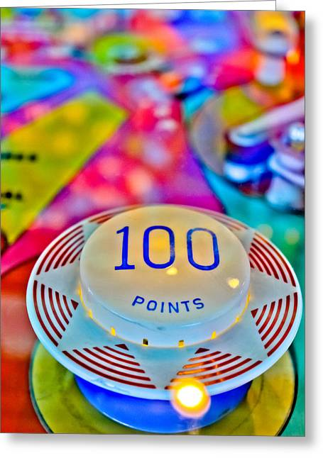 Fast Ball Greeting Cards - 100 Points - Pinball Greeting Card by Colleen Kammerer