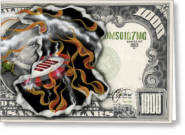 Las Vegas Paintings Greeting Cards - $1000 Bill Winning Big Greeting Card by Michael Godard