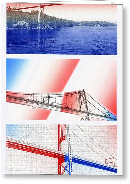 International Relations Greeting Cards - 1000 Island International Bridge Triptych Greeting Card by Steve Ohlsen