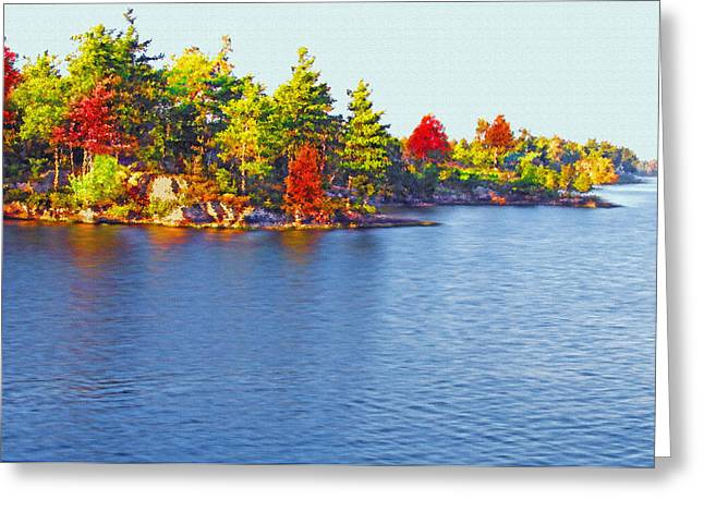 Water Flowing Mixed Media Greeting Cards - 1000 Island Scenes 6 Greeting Card by Steve Ohlsen