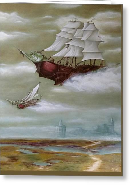 Steampunk Airships Greeting Card by Ramona Boehme