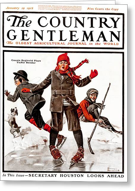 Country Hockey Greeting Cards - Cover Of Country Gentleman Agricultural Greeting Card by Remsberg Inc