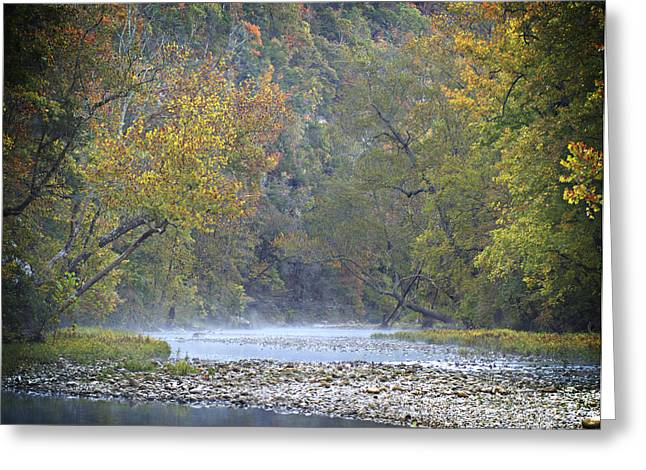 Ozark Mountains Greeting Cards - 1010-3979 Buffalo River Boxley Valley Fall Greeting Card by Randy Forrester