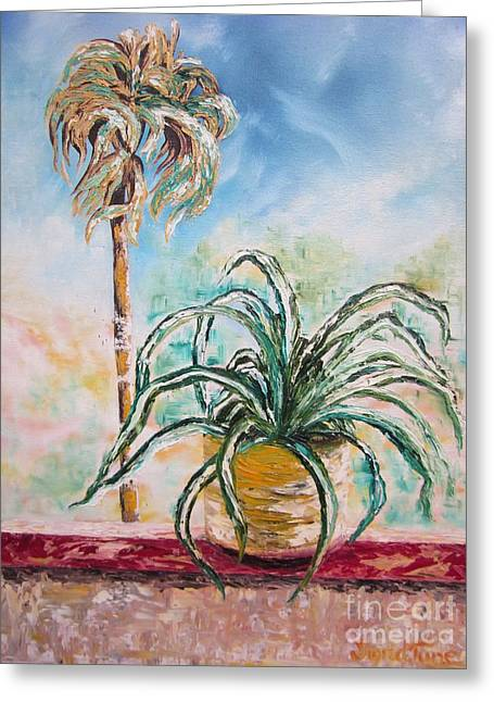 Pallet Knife Greeting Cards - 103 - I Wanna Be a Palm Tree Greeting Card by Sigrid Tune