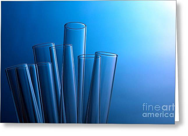Experiment Greeting Cards - Test Tubes in Science Research Lab Greeting Card by Olivier Le Queinec