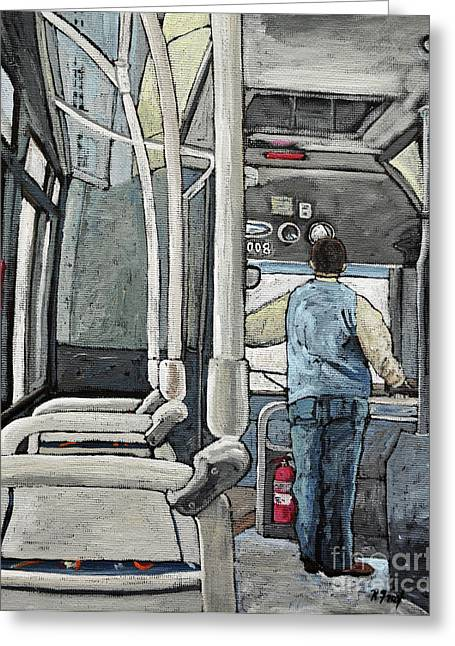 107 Bus On A Rainy Day Greeting Card by Reb Frost