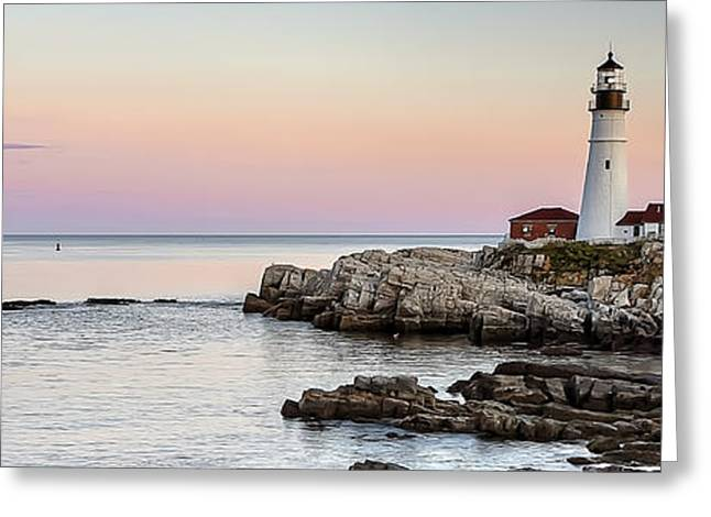 Maine Beach Greeting Cards - 1071 Portland Lighthouse Panoramic Greeting Card by Steve Sturgill
