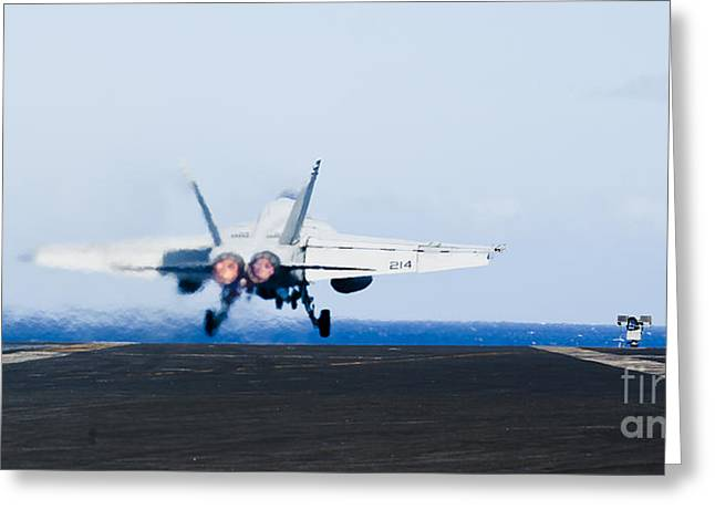 Nimitz-class Greeting Cards - An Fa-18e Super Hornet Launches Greeting Card by Stocktrek Images